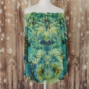 One World Tropical Bright tie sleeve boho top medi